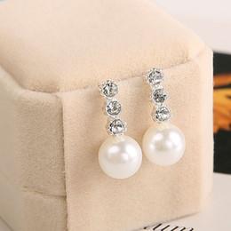 Wholesale Ladies Pearl Earrings Studs - 1 Pair Cute Compact Pearl Stud Earrings Lady Girls Fashion Alloy Crystal Rhinestone Earrings Women's Jewelry Gift