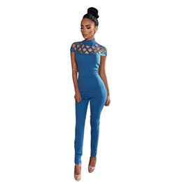 2017 new high neck cut out bandage bodysuits one piece sets wholesale sexy  Long Sleeve hollow out shoulder Ladies Jumpsuits 09f1433c2