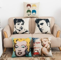 Wholesale Beatles Pillows - Marilyn Monroe Beatles Cotton Linen Pillow Case square Cushion Covers Throw pillow covers cases Car Chair Home sofa Bedding set Top quality