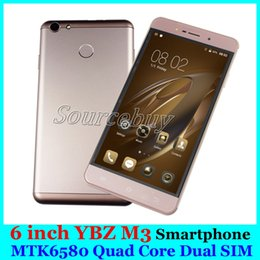 Wholesale M3 Android - 6 inch 3G Unlocked Smartphone YBZ M3 Dual SIM MTK6580 Quad Core 1GB 4GB Android 6.0 Mobile phones Smart Wake-up Free case