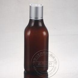 Wholesale Pressing Aluminum - Wholesale- 30PCS-200ML Anodized Aluminum Press Screw Cap Bottle,Amber Plastic Cosmetic Container,Empty Serum Sub-bottling,Shampoo Bottle