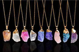 Wholesale Crystal Quartz Wholesale - Fashion Natural Stone Pendant Necklaces Chakra Bead Gemstone Necklace Pendant Original Crystal Quartz Pendant Necklaces Jewelry Chains