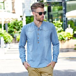 Wholesale New Trend Heading - New cotton washed denim shirt sleeve head long sleeved male retro casual long trend of men's self-cultivation shirt