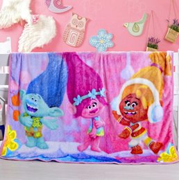 Wholesale Baby Warming Blanket - Kids Blankets Flannel Frozen Trolls clownfish Warm Blankets Smooth Flannel Blankets Baby Beddings Swaddling 1*1.4m 10 pcs KKA1345