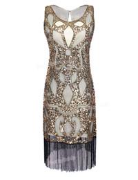 flapper vestidos gatsby Desconto Atacado- PrettyGuide Mulheres de 1920 de lantejoulas Art Deco Oco Tribo Paisley Cocktail Inspirado Flapper Vestido Grande Vestido Gatsby