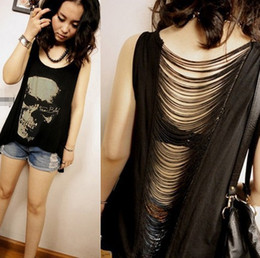 Wholesale Tank Dresses Punk - Wholesale-2016 Summer new women T shirts Skull Punk Singlet Dress Vintage Tank Pop Sexy Top long Tee T-Shirt