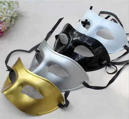 Wholesale Masquerade Ball Masks Free - DHL Free Venetian masquerade masks for Halloween masquerade balls Mardi Gras Prom Dancing Party half eye gold silver Masks for men and women