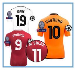 Wholesale Champions Football - 17 18 Champions League Soccer Jerseys GERRARD M.Salah CHAMBERLAIN COUTINHO FIRMINO HENDERSON 2017 2018 away MANE third 3rd football shirts