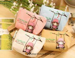 Wholesale Little Girls Pouches - Wholesale- Kawaii 4Colors. Cartoon Girls 11CM Canvas Coin BAG Pouch ; Pocket BAG Pouch Case ; Girl's Gift Little Hand Wallet BAG Case