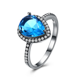 Wholesale Blue Topaz Ring Sterling - London Blue Topaz Ring Gemstone Vintage Sterling Silver Sunshine Bling Crystal Jewelry Size 6 7 8 9 18KRGPR1029-A