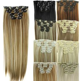 Wholesale Brown Frosted Hair Extensions - Synthetic Hair Extensions Clip In On 16 Clips 6pieces set Long Straight Hair Heat Resistant 24Inches