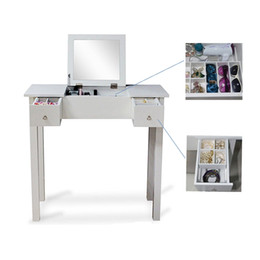Wholesale Makeup Table Organizer - White Vanity Table Makeup Desk Jewelry Comsetic Storage Organizer with Dressing Mirror and 2 Drawers USA Stock
