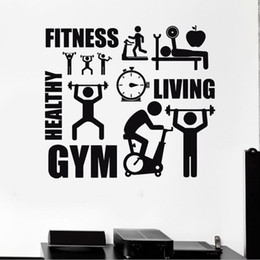 Wholesale Vinyl Wall Art Stickers - Home Wall Sticker Decal Healthy Lifestyle Sport Motivation Fitness Gym Vinyl Art Furnishings Healthy Living Room Decoration JJB0056
