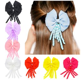 Wholesale Cute Ribbon Bows - 4 inch curly streamer Barrettes Double bow Ribbon Tail hairpins Cute Hair Bow With Clip For Girls 8 colors C2685