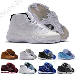Wholesale Blue Silk Velvet - Discount Retro (11)XI Space jam Legend blue black Velvet 72-10 Basketball shoes Mens Sports Running shoe Retro 11s bred womens Sneakers