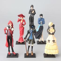 Wholesale Craft Figures - 6pcs set 12cm Anime Black Butler Princess Kuroshitsuji Action Figure Model Toys Children Birthday Gift Home Decoration Craft akye-036
