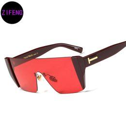 Wholesale Blue Spectacles - Z F New Fashion Sunglasses Square Conjoined Spectacle Lens Famous Brand Design Rimless Summer Men Women Sun glasses UV400 97375