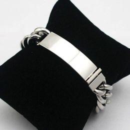 Wholesale Engraving Blanks - ID Bracelet 8.86 inch Blank Tag Link Chain Bangle Bracelet Factory Custom Laser Engraving Name Logo&Words