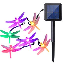 Wholesale Indoor Christmas Tree Lights - Solar powered Christmas Dragonfly LED String Lights 16ft 20 LEDs 6 colors Waterproof Fairy Lighting for Christmas Trees Garden light