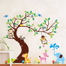 Wholesale Happy Stickers - DIY wall sticker for kids bedroom Carved Removable happy zoo animals kindergarten waterproof art Sticker Decor 2018 Wholesale in stocks