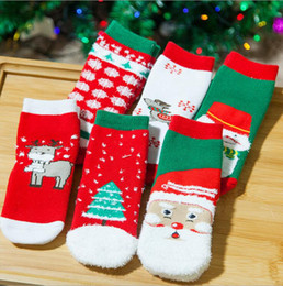 Wholesale Striped Santa Socks - Christmas Baby Socks Girls Winter Socks Cartoon Socks Toddler Santa Claus Elk Hosiery Kids Tree Snowman Footwear Booties 600 pairs OOA2824