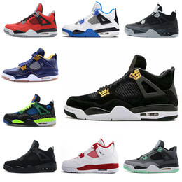 Wholesale military high boots - 2018 High Quality sheos 4 Basketball shoes men Fire Red White Cement CAVS Military Blue Cement Grey Black Sneakers Athletics Boots