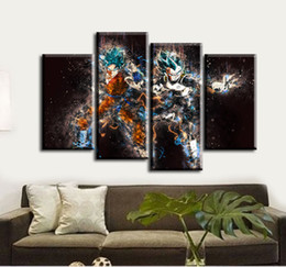 Wholesale Wall Dragon Decor - 4pcs set Unframed Dragon Ball Goku and Vegeta Oil Painting On Canvas Giclee Wall Art Painting Art Picture For Home Decor