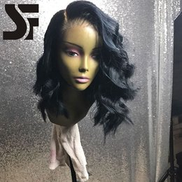 Wholesale Short Human Hair Glueless Wigs - SF Glueless Lace Front Wig Short Wavy Brazilian Full Lace Wig With Baby Hair And Natural Hairlines 100% Unprocessed Human Hair bob Wigs
