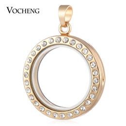Wholesale Green Float Glass - VOCHENG 30mm Round Glass Memory Lockets Pendant for Floating Charms with Crystal 12 Styles VA-241