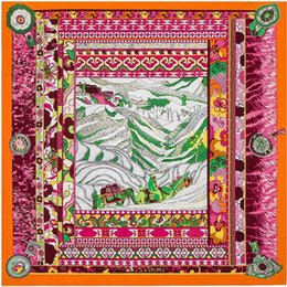 Wholesale Wholesale Squared Silk Printed Scarves - Wholesale-100cm*100cm 100% Twill Silk Euro Brand National Wind Montain Printed Women Big Size Silk Square Scarf High Quality Shawls 3121