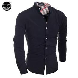2019 abiti di tartan all'ingrosso Wholesale- 2016 uomo moda uomo camicia classica plaid cuciture camisa masculina a maniche lunghe camicia maschile camicie uomo camicia XXL IYW2