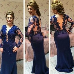Wholesale Mother Dresses Wedding Straps - Royal Blue Mother Of The Bride Dresses With Sleeves 2017 Sheer Open Back Formal Evening Party Gowns Mermaid Wedding Guest Dress