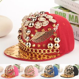 Wholesale Baseball Cap Shape - Unique designer snapback hats gold spiked rivets wings shaped hip hop men snapback caps brand women hiphop baseball cap