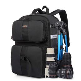 Argentina Al por mayor- SINPAID Multifuncional DSLR SLR Mochila para cámara Gran espacio Accesorios de fotografía a prueba de agua Color de la bolsa Negro, Azul y Naranja cheap camera bags orange Suministro