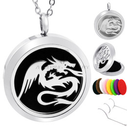 Wholesale New Arrival Necklace Unisex Silver - New Arrival Round Silver dragon 30mm Stainless Steel Magnetic Locket Essential Oil Diffuser Perfume Locket Pendant Necklace