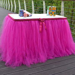 Wholesale Plated Wholesale Skirt - high quanlity tutu table skirt with bow for wedding decorations party birthday evening prom baby skirts whole sale DHL free shipping