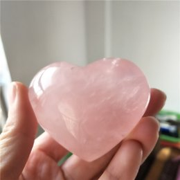 Wholesale Natural Pink Rose Quartz Gemstone - Natural tumbled rose quartz carved crystal reiki healing love purify heart shaped stone pink gemstone for romantic love