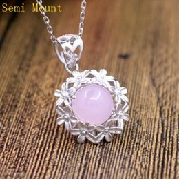 Wholesale White Gold Semi Mounts - Fine Silver 925 Sterling Silver Pendant Flower 10x10mm Round Cabochon Semi Mount White Gold Plated Jewelry