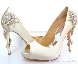 Wholesale Stiletto Charms - 2017 red white wedding shoes peep toe Heel silk bridal shoes with crystalGenuine Leathers shoes for wedding evening prom