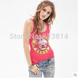 Wholesale Off Shoulder T Shirts - Wholesale-Summer T Shirt Women Fashion Sexy Rose Red Top Slim O-Neck Shoulder Off Sleeveless Gun N' Rose Elastic Street Casual Tops D416