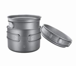Wholesale Titanium Camping Bowl - Pure Titanium 3-piece Tableware Pot Pan Boiler Cooker Matte Suface 2500mll Capacity 300g Anti-corrosion Environment friendly for Outdoors