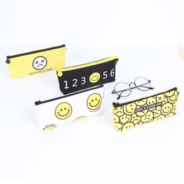 Wholesale Large Fabric Pencil Case - Pencil Bag Creative Smile Face Emoji Simple Style Large Capacity Stationery Canvas Material Pencils Case Learn Supplies 2 5bw F R