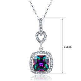 Wholesale Mystic Necklace - Fashion Jewelry Fire Mystic Topaz 925 Sterling Silver Pendant Necklace Rainbow Magic green Zircon Cushion Shaped For party Gift On Stock