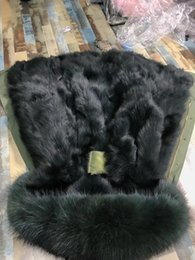 Wholesale Dog 4xl - Men fox fur parkas itlay olive green fox fur lined army green long parkas furs snow Windproof jackets