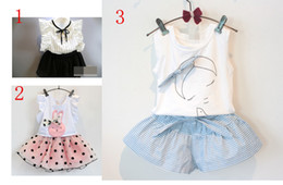Wholesale choice cartoon - wholesale 3 style Stripe sleeve shirt +short skirt cartoon outfit suspenders two-piece outfit best choice for girls