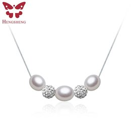 Wholesale Three Pearl Pendant - Wholesale- Romantic Three 8-9 mm Natural Pearl Color Pendant & Necklace Chain Fashion Jewellery Water Drop Pearl Pendant Gift