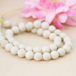 Wholesale White Tridacna - New woman Accessories Series White Tridacna Jasper beads Round DIY stones 15inch Jewelry making design wholesale Girls Gifts