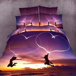 Wholesale Duvet Beach - Wholesale- Romantic purple beach with heart 3D bedding 4 pc sets king queen size1 pc bed sheet+1pc duvet cover+2 pcs pillow covers.