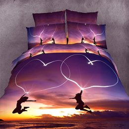 Wholesale Romantic King Bedding - Wholesale- Romantic purple beach with heart 3D bedding 4 pc sets king queen size1 pc bed sheet+1pc duvet cover+2 pcs pillow covers.