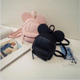 Wholesale Ear Phone Bags - Wholesale- Mickey Backpack Sweet Fashion wild Women Backpack Bag 2016 PU Leather Mickey girl cartoon big ears small mini travel shouder bag